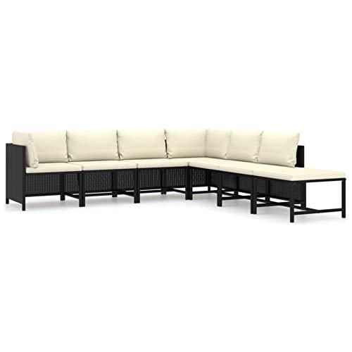 Tidyard Conjuntos Sofa Exterior Patio Set de Muebles de jardín 7 pzas y Cojines ratán sintético Negro
