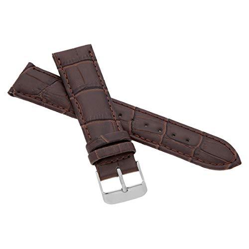 MARCHEL Croco LM-55 Lederarmband 24 mm Braun mit Krokoprägung für Armbanduhren Uhrenarmband Krokodilmuster