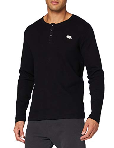 Hatley Waffle Knit Long Sleeve Henley Camiseta de Pijama, Oso Polar, M para Hombre