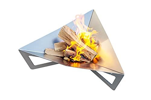 teileplus24 FS03 Feuerschale Feuerstelle Feuerkorb aus Stahl   Massiv   Modernes Design mit Wasserablauf und Belüftungssystem   Platzsparend Zerlegbar, Größe:Prisma L
