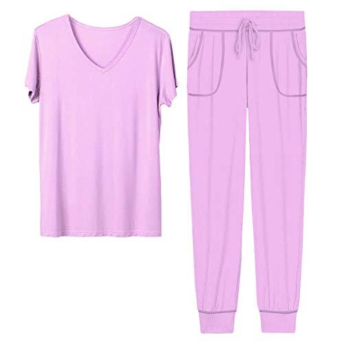 H HIAMIGOS tweedelige pyjama T-shirt met trekkoord broek nachtkleding voor dames, S-XXL