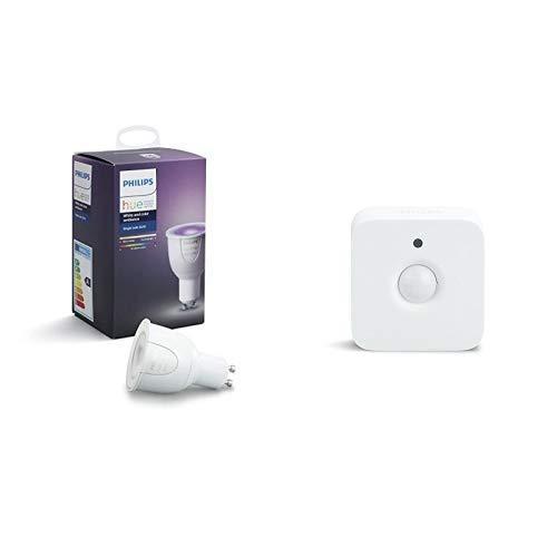 Philips Hue White & Color Ambiance GU10 LED Lampe Erweiterung, dimmbar, bis zu 16 Millionen Farben & Philips Hue Bewegungssensor intelligenter Bewegungsmelder integrierter Tageslichtsensor Zubehör