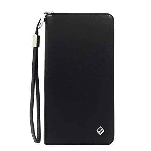 Damen Portemonnaie Leder schwarz, groß, lang, RFID Schutz, Münzfach, viele Fächer - Clutch Geldbörse Portmonee Geldbeutel Brieftasche Damenbörse Damengeldbörse Wallet Damenportemonnaie Damengeldbeutel