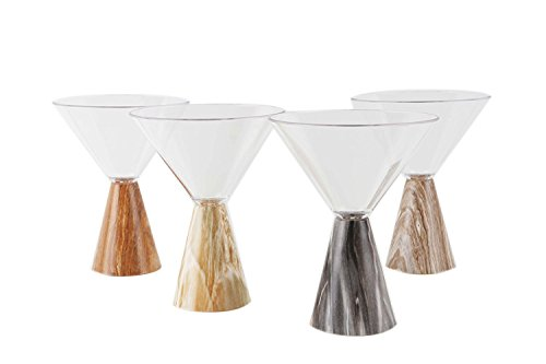 Nani's Marble Pattern BPA Free Tritan Plastic Firangi Glass, 150 ml | Martini Cocktail and Mocktail Glass | Innovative Designer Product Which Will Give Royal Feel (Pack of 4)