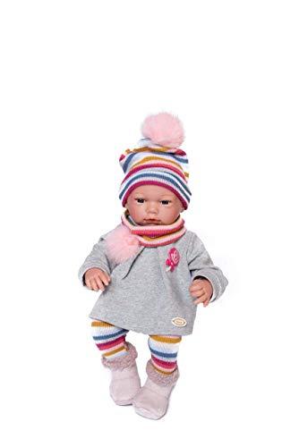 Guca-pop Kerstmis pullover, grijs, met leggings en muts gestreept, kleuren en sjaal 38 cm, meerkleurig (915)