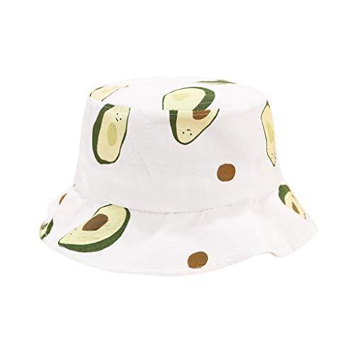 Gwxevce Estilo Fresco Japonés Adulto Niños Verano Algodón Cubo Sombrero Dulce Colorido Aguacate Fruta Impreso Borde Ancho Protector Solar Gorra Pescador
