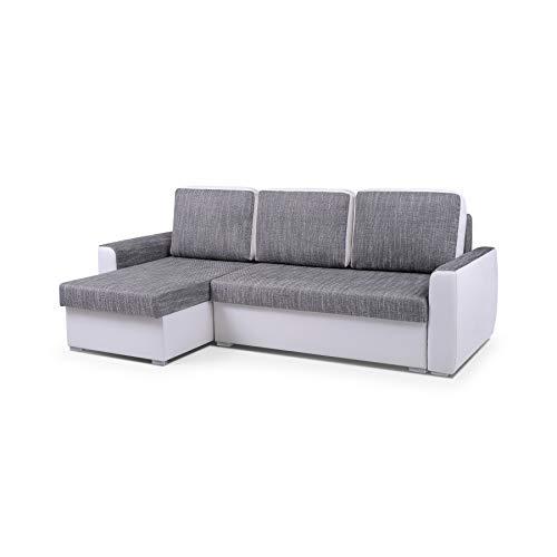 MOEBLO Ecksofa mit Schlaffunktion Eckcouch mit Bettkasten Sofa Couch L-Form Polsterecke Silva (Weiß, Ecksofa Links)