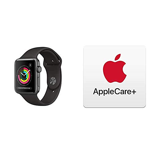 AppleWatchSeries3 (GPS) conCaja de 42mm de Aluminio enGris Espacial yCorrea Deportiva - Negra con AppleCare+