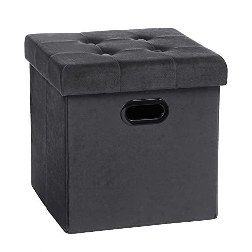 WOLTU Sitzhocker Sitzwürfel Fußhocker mit Stauraum Aufbewahrungsbox Truhen faltbar, Deckel abnehmbar, mit Griffe, Gepolsterte Sitzfläche aus Samt, 37,5x37,5x38CM, Grau, SH72gr