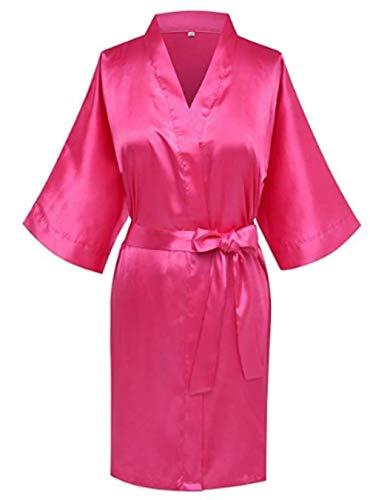 Miwaimao Robe roze champagne zilver kimono badjas vrouwen eenvoudige pyjama bruiloft partij gewaad korte S-XXL