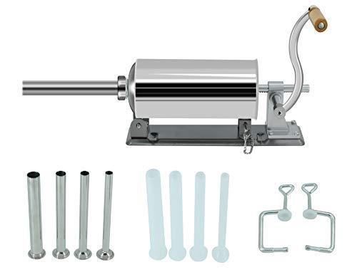 Embutidora de Salchichas Horizontal 3L para Hogar Restaurante, Máquina de Cocina Manual de Llenado de Carne de Acero Inoxidable por Poweka