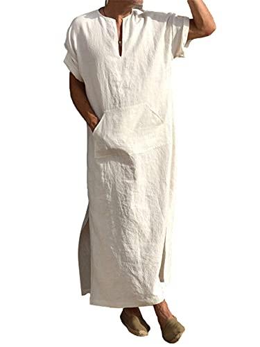 Herren Leinen Robe mit V-Ausschnitt, Langes Kleid Nachthemd Schlafanzug Kurzarm Roben Nachtwäsche Mit Taschen (Weiß, XXL)