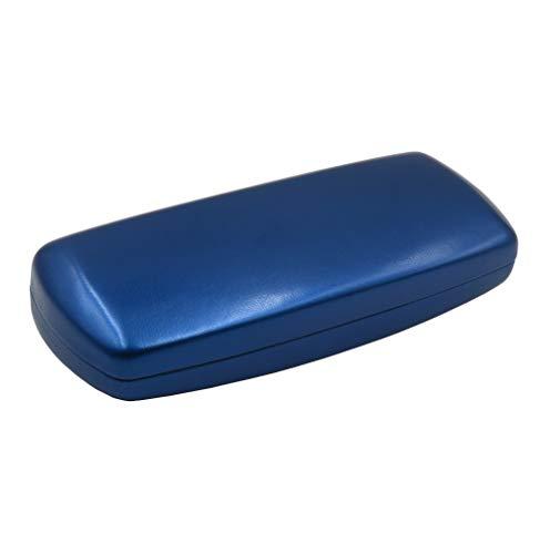 MyEyeglassCase Mens Hard Eyeglass case with Microfiber Cleaning Cloth Boys Blue Eyeglass case fits Medium Size Frames Metal Clam shell   AS302 Blue