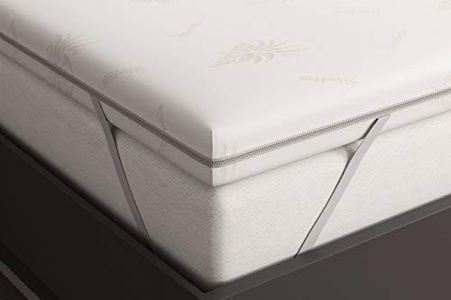 Matratzenauflage 160x200 cm - Viscoschaum RG 50 - Viskoelastische Visco 6 cm Hoch - 100% Rein Memory Foam Schaum Topper Matratzentopper Visco Auflage - Aloe Vera Bezug Waschbar