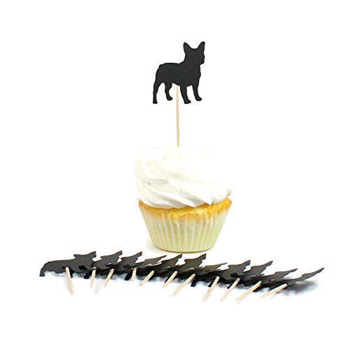 French Bulldog Cupcake Toppers Set of 12 | Black Frenchie Cake Topper | Dog Birthday Party Decorations | Pet Party