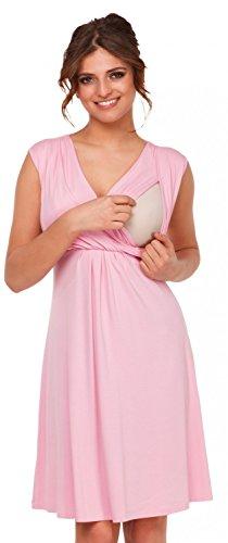 Happy Mama. Para Mujer Vestido Skater premamá de lactancia. Escote de pico. 808p (Polvo de Color Rosa, 42, XL)
