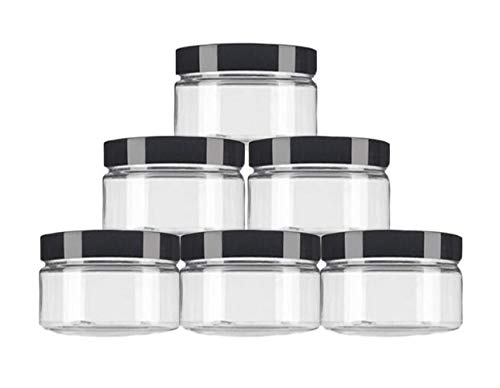 6PCS 250ML Gram/8oz Empty Plastic Clear Wide Mouth Round Jars with Black Lids Cosmetic Makeup Storage Bottles Cream Lotion Container Holder Dispenser for Eyeshadow Powder Dry Goods