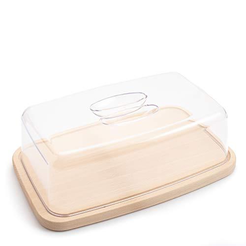 Ribnican - Planche à découper en bois antibactérien, plat, pour fromage, conserver du pain et des pâtisseries, rectangulaire, en plastique