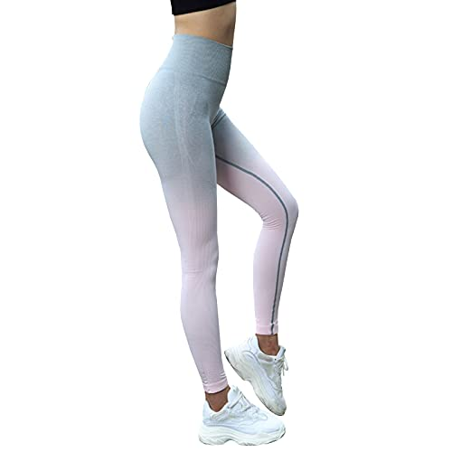 Adlereyire Leggings Mujer Pantalón Deportivo Pantalones Yoga Elásticos Cintura (Color : Pink, Size : L)