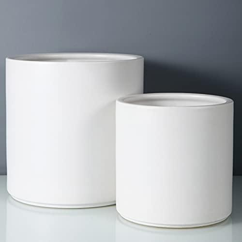 Fopamtri Plant Pot Set Matte White Ceramic Planter for Indoor Outdoor Plants...