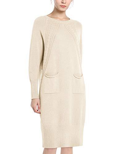 APART Damen Kleid, Strickkleid, Fledermausärmel, Kaschmir-Anteil, Taschen, beige, L