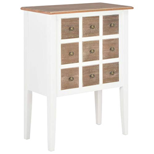 WWZH Wood Sideboard Buffet White Console Table Storage Cabinet for Kitchen Dining Room Entryway with 9 Drawers