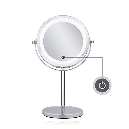 SXFYWYM Make up Miroir Double Face 7 Pouces 10X grossissant Debout Portable degré Libre Rotation Vanity Mirror,Silver,330x170mm