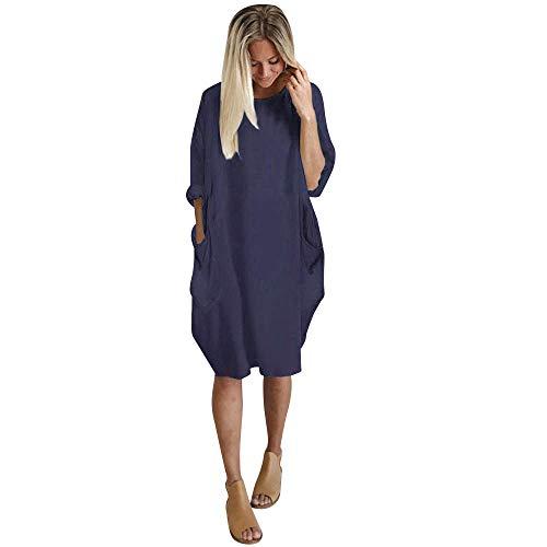 KIMODO Damen Kleid Lang Herbst Rundhalsausschnitt Lässige Tasche Oversize Kleider (Marine, XL)