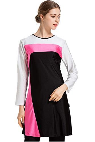 Women Muslim Swimwear Full Coverage Islamic Modest Swimsuit 3 Pieces Full Body with Hijab Sun Protection Plus Size Beachwear (Black, 3XL)