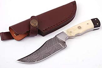 Anna Home Collection AN-9013 Custom Made Damascus Steel Hunting Knife Pukka Wood Handle with Real Leather Sheath. (Bone)