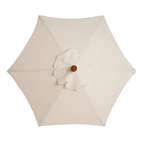 Patio Garden Umbrella Replacement Cloth - Canopy Market Outdoor Table Umbrella Top Outdoor Stall Umbrella Canopy Beach Sun Umbrella Replacement Cloth Environmentally friendly UV Sun protection (White)