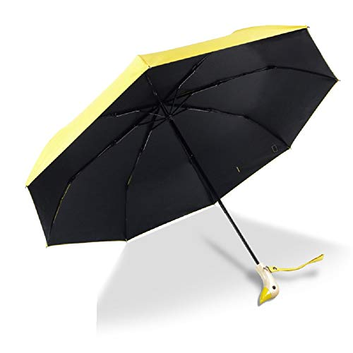 HappyGo Cute Duck Wooden Handle,UV Protection Coating,Auto Open,Travel Cooling Sun Blocking Umbrella,U295,Yellow,8 Ribs