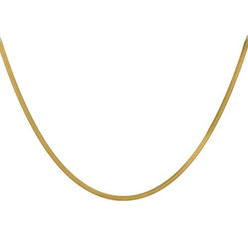 ENYU Collar para Hombre Curb de 4 mm con Cadena chapada en Oro Cubano (Cadena de Hoja) - Joyas de Acero Inoxidable - Cadenas de eslabones de Cuello para Mujeres, niños, Collar de Pareja para Regalos