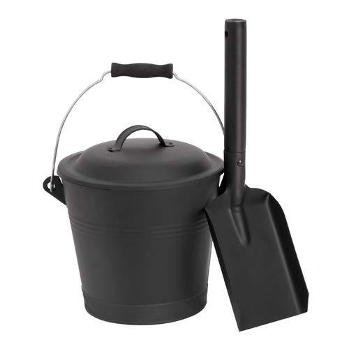 Aboniris Mini Ash Bucket with Shovel and Lid, 1.32 Gallon, 5 Litre, Black