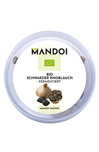 Mandoi BIO fermentierter schwarzer Knoblauch, 3 große Knollen, fermented black garlic. In nachhaltiger Verpackung aus 50% Bio Zuckerrohr-Basis