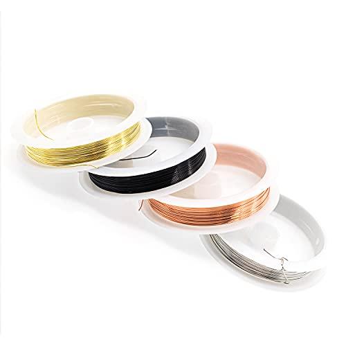 JiangLin Filo di Rame per Gioielli 0,4 mm,4 Rotoli di Filo di Rame colorato, 4 Rotoli Oro/Argento/Rosso Rame/Nero per Gioielli Perline Creazione di Gioielli e Craft.