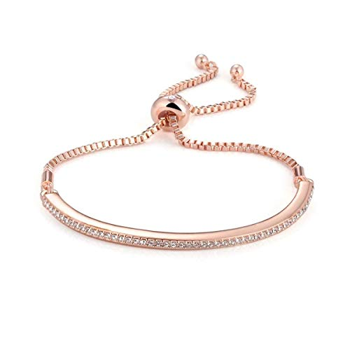 Philip Jones Rose Gold Friendship Bracelet Created with Austrian Crystals