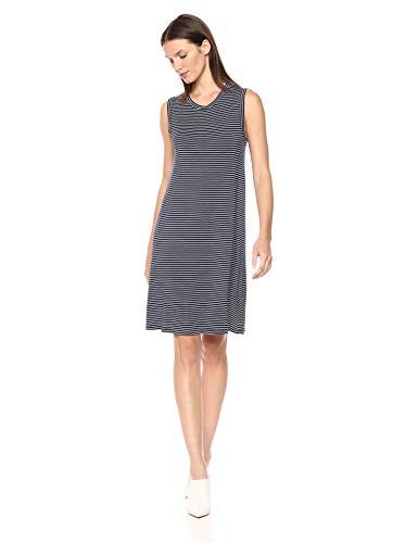 Daily Ritual Women's Jersey Muscle Swing Dress, Navy-White Stripe, Medium