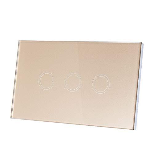 Panel de cristal de cristal dorado, AC 110 – 240 V, 1 vía, 3 Gang interruptor de iluminación con control táctil con mando a distancia