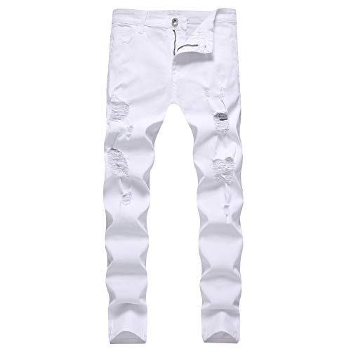 LONGBIDA Men's Skinny Slim Fit Ripped Distressed Destroyed Stretch Knee Holes Jeans Denim Pants(White-34)