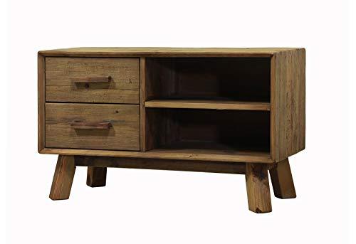TV-meubel 2 laden van gerecycled grenenhout – stijl Esprit Berge Rustiek – Collection Chalet