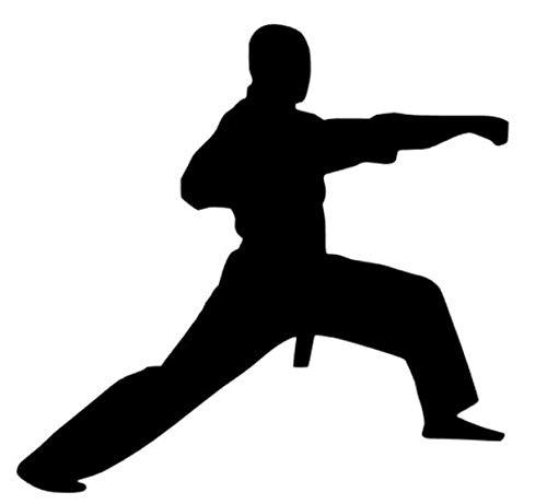 Generic Karate Aufkleber in 10cm, 15cm, 20cm, Kickboxen Kampfsport Auto Aufkleber Karatekämpfer (150/1) (20cm, dunkelgrau matt)