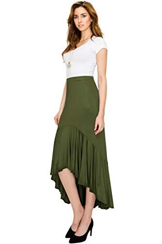 Made By Johnny MBJ WB1132 Womens Asymmetrical High Low Ruffle Hem Skirt M Olive