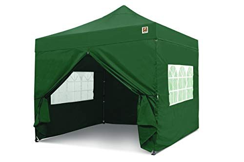 Gorilla Gazebo  Pop Up 3x3m Heavy Duty Waterproof Commercial Grade Market Stall 4 Side Panels and Wheeled Carrybag (Green)