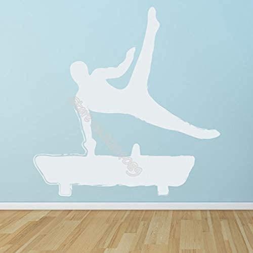 Heren Turnen Paard Van Het Zadel Sticker Van De Muur, Sport Hobby Home Decoration Gym Studio Vinyl Wallpaper Mural 56X56CM