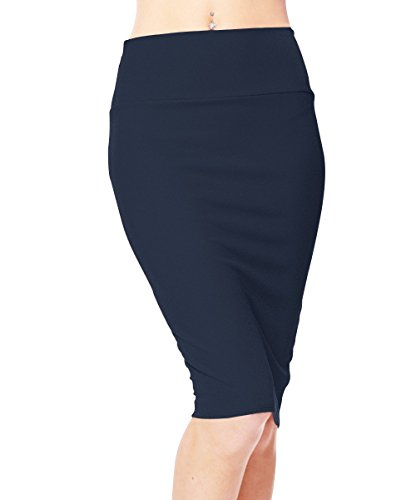 Urbancoco Damen Bleistift Rock Kurz Hohe taille Stretch Business Rock (M, navy blue)