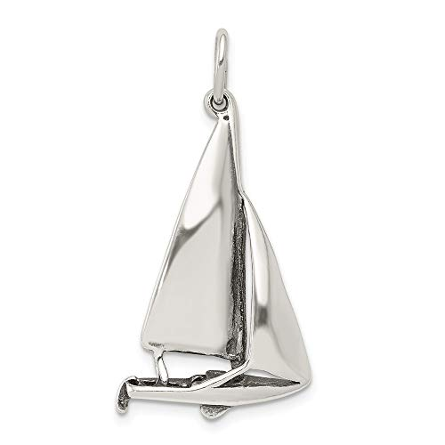 925 Sterling Silver Sailboat Pendant Charm Necklace Sea Shore Boating Travel Transportation Man Fine Jewelry For Dad Mens Gifts For Him
