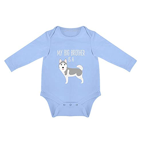 DKISEE Body de bebé siberiano Husky manga larga azul bebé mono 0-3 meses, o6n4p3qd2k1p