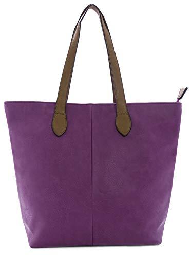 Mabel Damen Handtasche, leicht, einfarbig, weich, Designer-Tasche, Schultertasche, ideal als Einkaufstasche, Design 1, Magenta / Violett