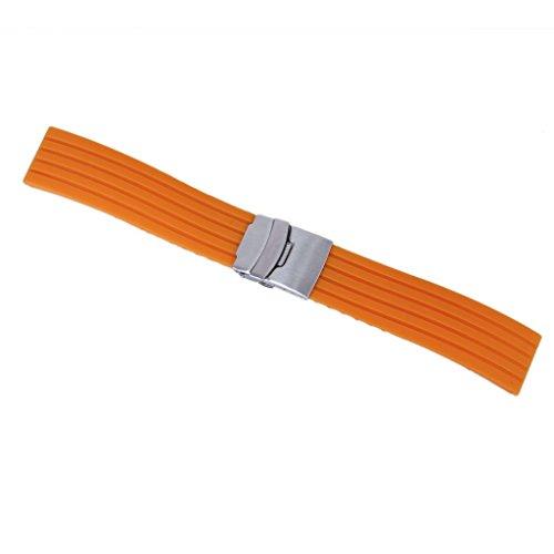 Kaxofang Silicona Reloj Correa de Caucho Band Hebilla del despliegue de 22 mm a Prueba de Agua Color Naranja